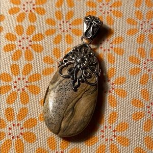 Vintage silver and stone pendant - India